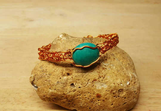 Copper Turquoise adjustable Cuff bracelet