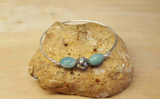 Sterling silver Amazonite bangle