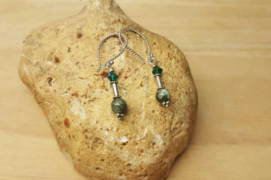 Small Sterling silver Green Seraphinite earrings