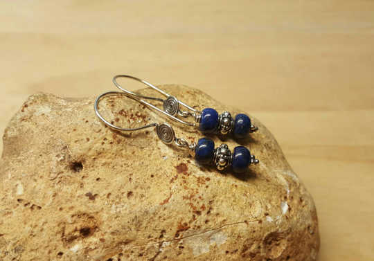 Bali silver Lapis lazuli earrings