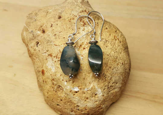Sterling silver green Moss agate earrings