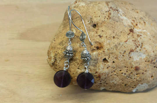 Bali Silver Amethyst earrings