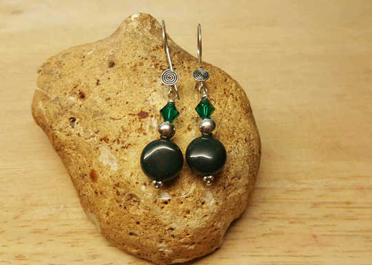 Sterling silver Green Bloodstone earrings