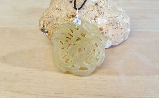 Mens Carved Jade pendant