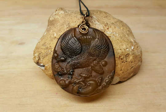 Mens Eagle Brown Carved Jade pendant