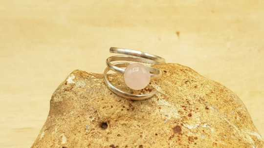 Spiral Rose Quartz ring