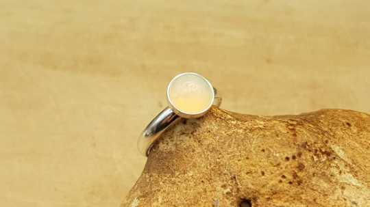 Sterling silver pink Ethiopian Opal ring