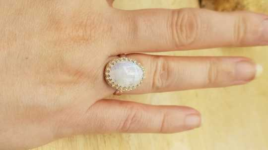 Rainbow moonstone Ring 16x12mm