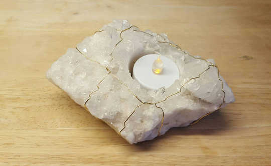 Raw quartz candle holder