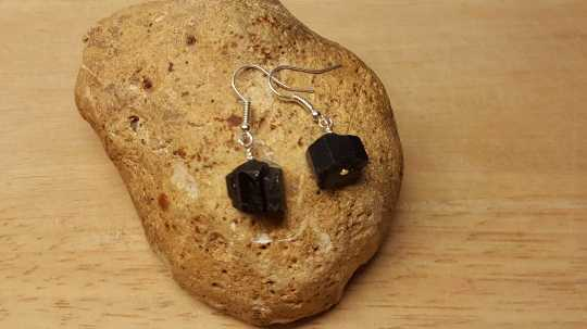 Raw black Tourmaline earrings.