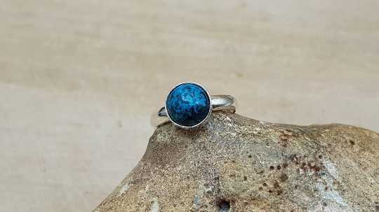 Round Chrysocolla ring