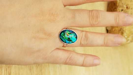 Teal abalone ring