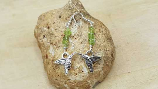 Peridot hummingbird earrings