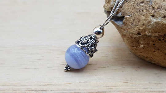 Small Blue lace agate pendant