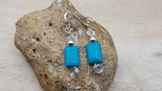 Rectangle Turquoise earrings