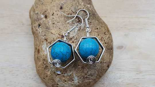 Turquoise Hexagon earrings