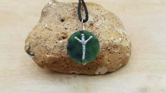 ALGIZ Rune jade necklace