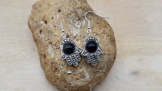 Hamsa rainbow Obsidian earrings.