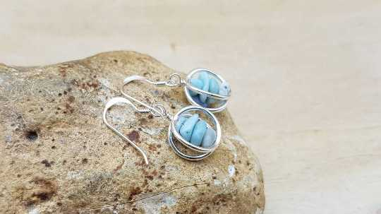 3D Larimar circle earrings