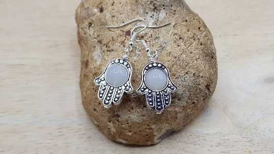 Moonstone Hamsa earrings