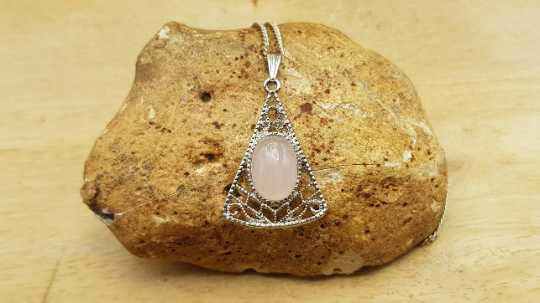 Triangle Rose Quartz pendant