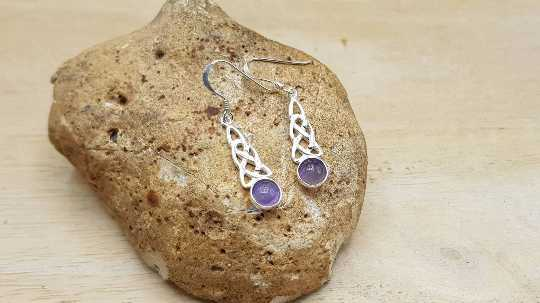 Amethyst Celtic knot earrings