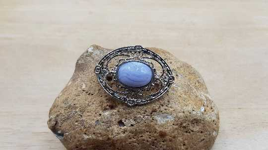 Blue Lace agate brooch