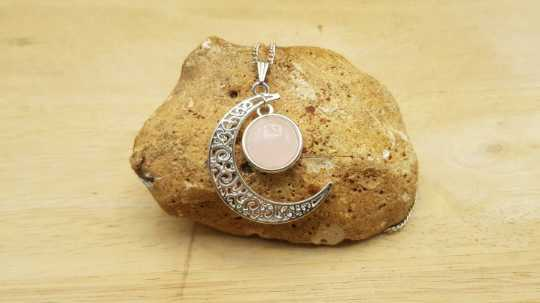 Rose Quartz moon pendant