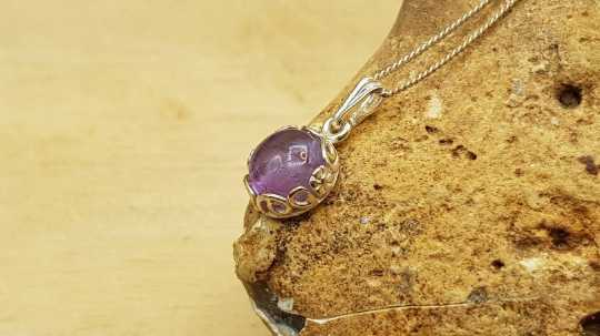 Tiny Amethyst Pendant 8mm