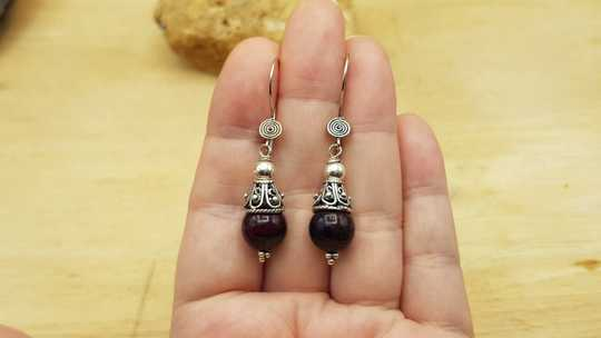 Sugilite cone earrings
