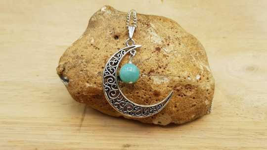 Crescent moon Amazonite necklace