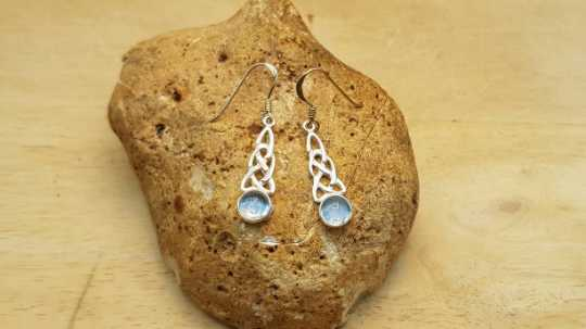 Blue Topaz Celtic knot earrings