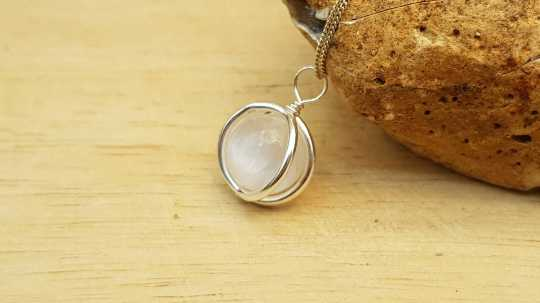 Selenite circle Pendant