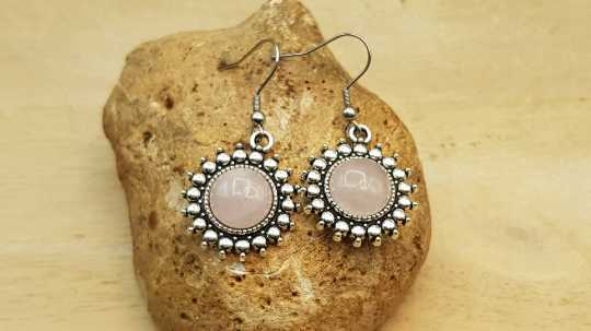 Boho round Rose Quartz Earrings