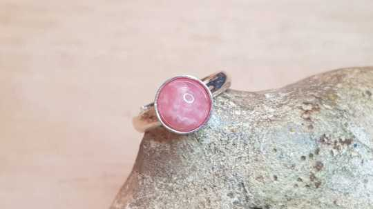Minimalist Rhodochrosite ring 8mm