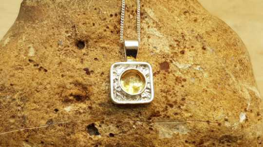 Tiny square Citrine necklace