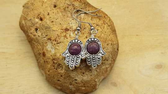Hamsa Lepidolite earrings