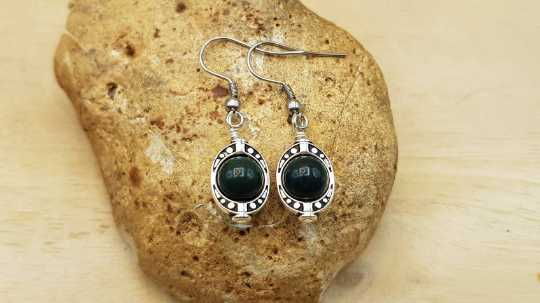 Oval frame Bloodstone earrings