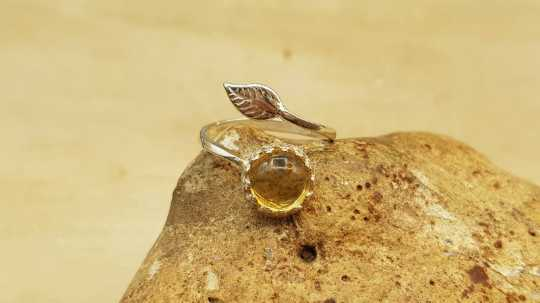 Citrine leaf Ring