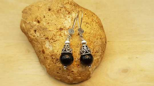 Rainbow Obsidian cone earrings