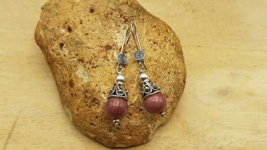 Rhodonite cone earrings