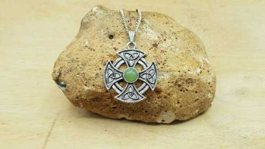 Jade celtic cross pendant