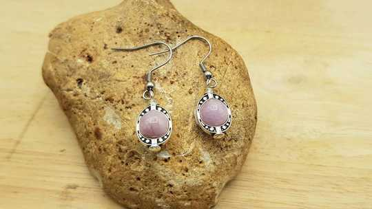 Small pink kunzite earrings