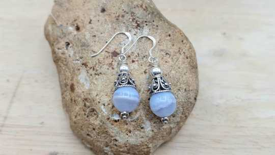 Blue lace agate cone earrings