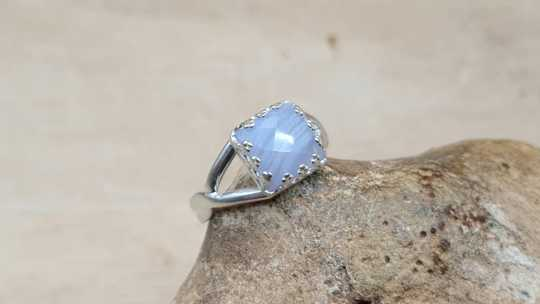 Blue lace agate square ring