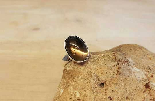 Smoky Quartz ring 14x10mm