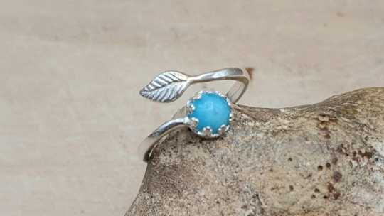 Amazonite leaf ring 6mm